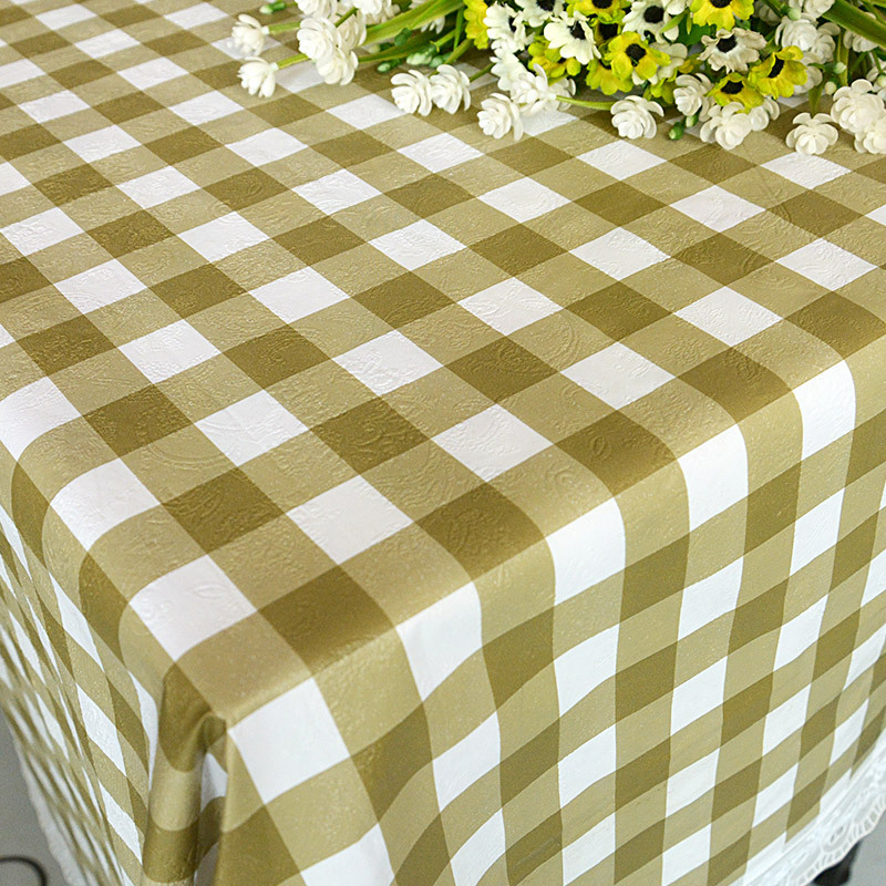 Eco Friendly Waterproof Oilproof Printed Pastoral Plaid Tablecloth Wedding Lace Plastic Table Cloth Rectangular Free Shipping(China (Mainland))