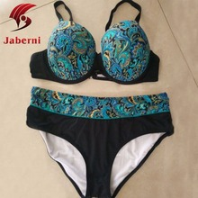 Plus Size XL-5XL Push Up Retro Swimwear Printing Floral Women 's High Waist Sexy National Bathing suit Bikinis Black Blue Green