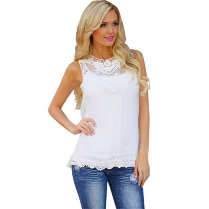 S-XXXL Plus Size Women Clothing Summer Casual Top Sleeveless Lace Crochet Blouse Shirt Female Embroidery Floral Blouse Women TopОдежда и ак�е��уары<br><br><br>Aliexpress
