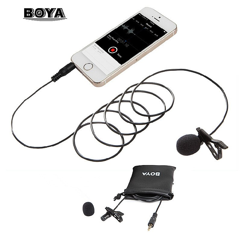 BOYA BY-LM10 Gold-plated 3.5mm Lavalier Microphone Omnidirectional for iPhone 6 6plus 5 4S 4,for Sumsang GALAXY s6 LG G3 HTC(China (Mainland))
