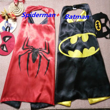Mask + cape superman spiderman kids superhero capes batman cape superhero costume suits for boys girls for party(China (Mainland))