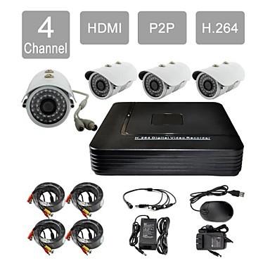 FKH 4x800TVL P2P HDMI 4-Channel H.264 DVR KIT IR Dome Camera CCTV Security System 881CD04V - fan qinhai's store