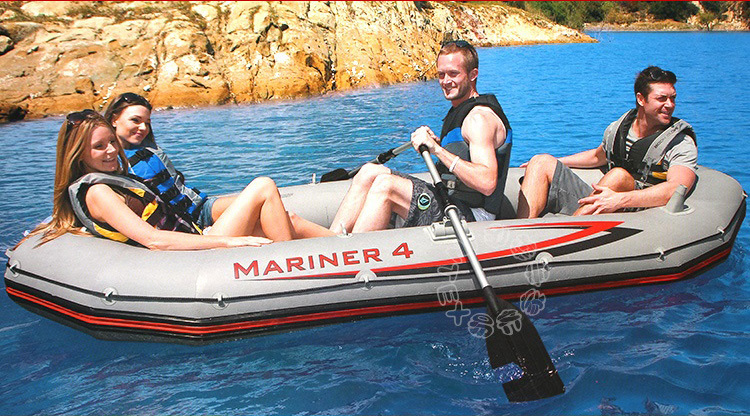 Free shipping INTEX MARINER SUPER 4 person inflatable boat 328*145*48cm, 137cm Aluminium oards, hand pump, repair patch(China (Mainland))