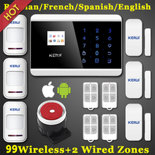 IOS Android APP LCD Smart Touch Keypad Wireless wired GSM PSTN Quad4 Band SMS Home Security Voice Burglar Alarm System Auto Dial