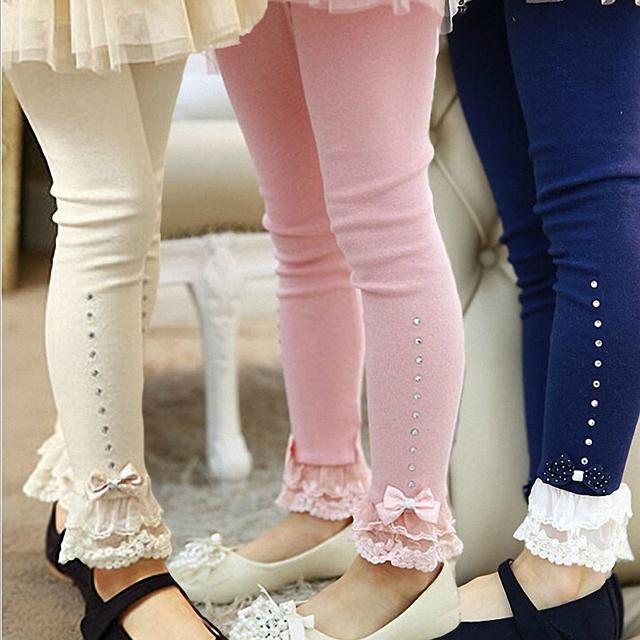 Розничная 3 Т до 11 Т дети девушки весна осень розовый синий бежевый кружевной отделкой рюшами горный хрусталь леггинсы дети принцесса хлопок леггинсы