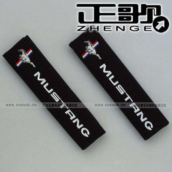 free shipping 1pair Seat belt shoulder Mustang car logo safety belt cover 1pair=2pcs shoulder