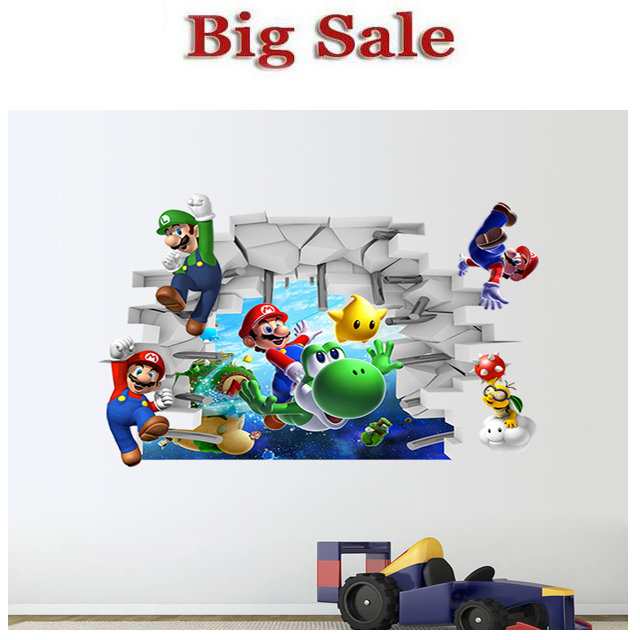 Super Mario Bros Kids Removable Wall Sticker Decals Nursery Home Decor Vinyl Mural for Boy Bedroom Wall Stickers For Kids Rooms(China (Mainland))