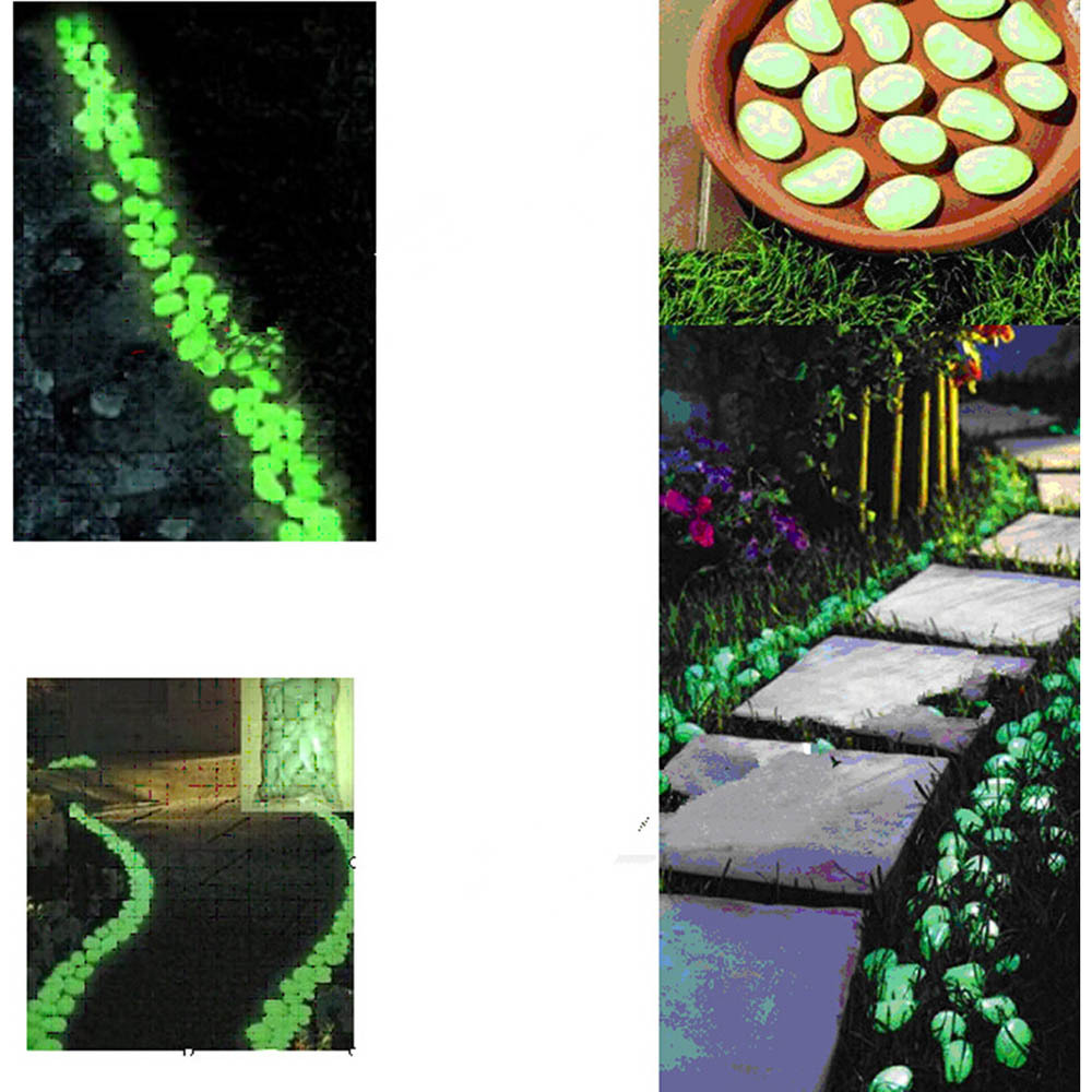 100pcs Hot Man Made Glow In The Dark Pebbles Stone For Garden Walkway Sky Blue In Garden