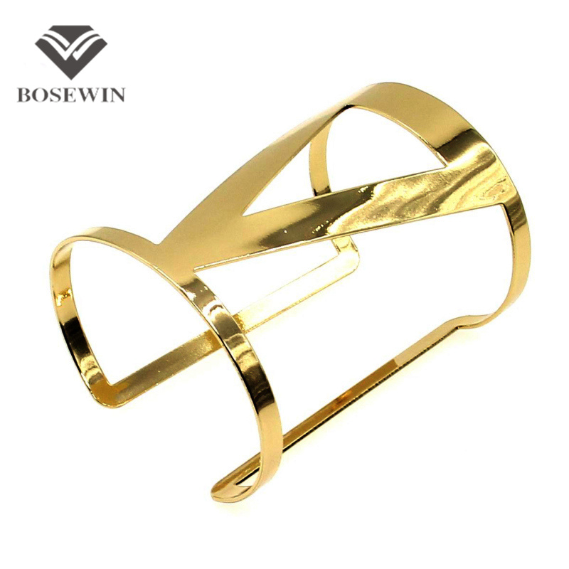 BOSEWIN Hollow Design Trilateral Bracelet Manchette Wrap Jewelry Fashion Opened Women's Cuff Bangles Bracelets Statement BL148 - JEWELRY Store store