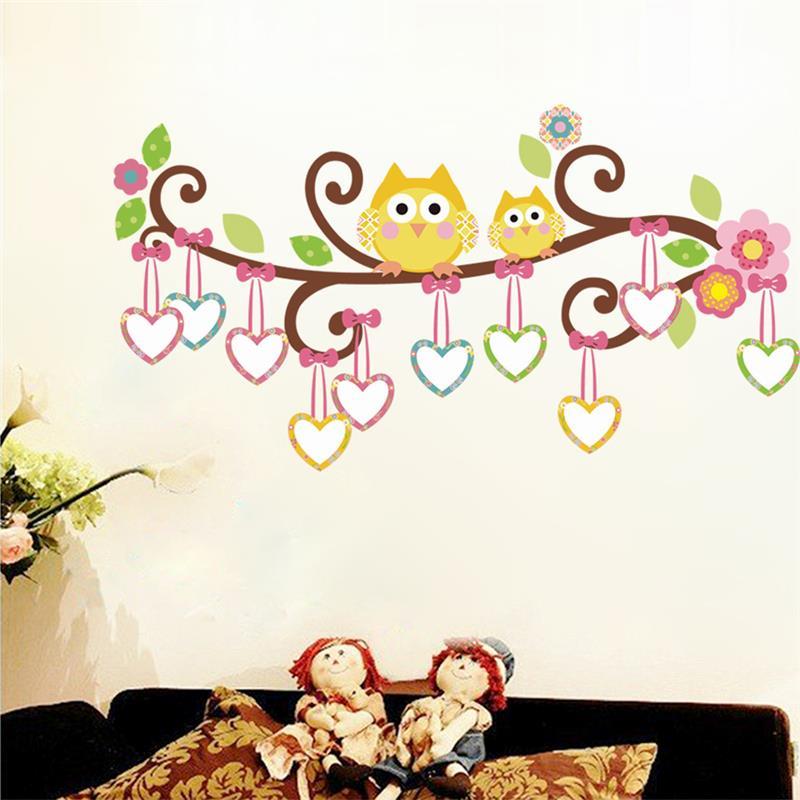 kawaii owls wall stickers kids bedroom decorations nursery cartoon children girls home decals 78ab animals tree mural arts 3.0