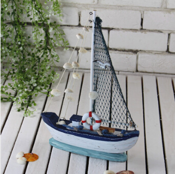 Free Shipping! Mediterranean Sea Style Jumbo Wooden Boat Sailing Boat Wooden Decorative Boat home Decoration 36CM Height(China (Mainland))