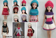Free shipping 2015 new Hand woven children gift doll Clothes Princess Dress Hat skirt sweater for 1/6 BJD barbie doll(China (Mainland))