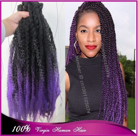 New arrival! top quality 20 black/purple 100% kanekalon synthetic hair afro twist ombre marley braid hair free shipping<br><br>Aliexpress