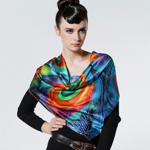 Brand 2014 new trend fashion style 100% silk square scarf for women shawl, peacock feather pattern print pashmina SP0877B