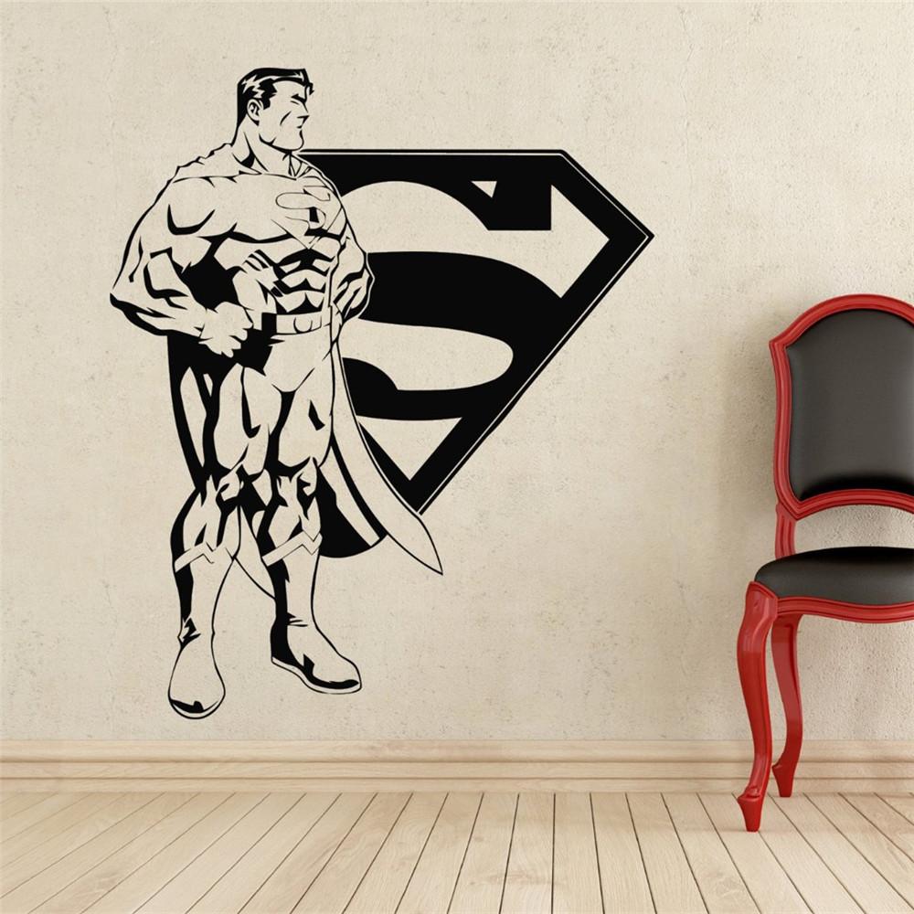 Comics Art Superman Logo Superhero Vinyl Decal Home Decoration Boys Bedroom Waterproof Removable