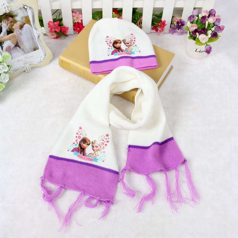 2015 Popular Anna Elsa children hat scarf set Cartoon Ice girl baby Knit cotton warm scarves and cap for autumn winter HOT sale(China (Mainland))