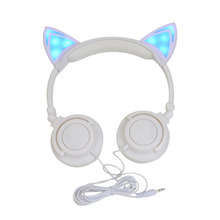 Tilion&Arien Original wired LED cat ear headphone folded gift headband earphone For Women Cute Unique Shape headphones(China (Mainland))