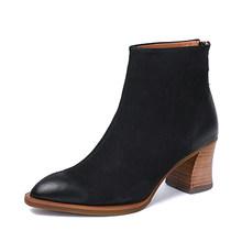 2018 herbst Winter Spitz Schuhe Frauen Stiefeletten Handmade Block Heels Echtem Leder Schnee Stiefel Damen Warme Stiefel(China)