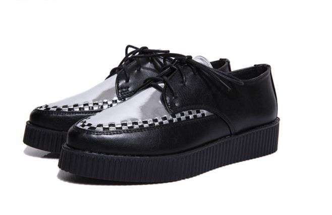 2014 Autumn Fashion Black Suede British Goth Punk Creepers Platform Flats Lace Skull Pointed Toe Boat Shoes TDY022 - Vivi-Fashion Shop store