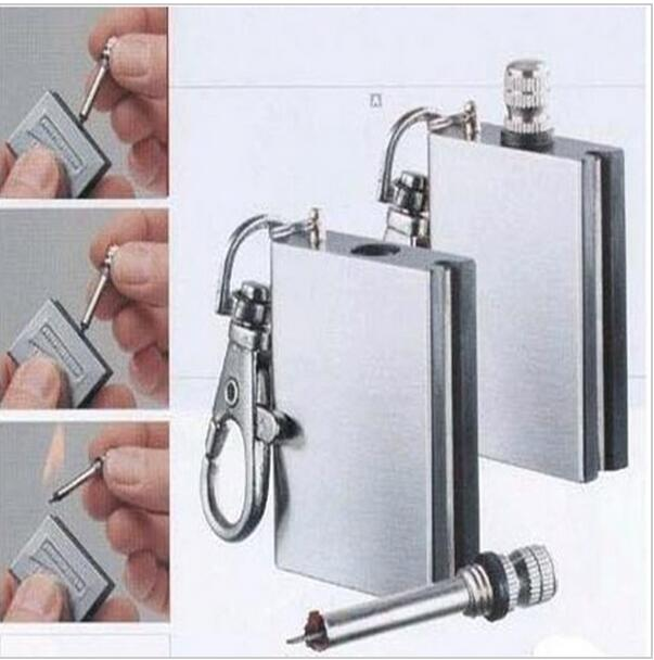Wholesale 1000PCS/LOT Hot Flint Fire Starter Match Lighter Stainless Steel One Million Time Key Chain Match Survival Kit(China (Mainland))