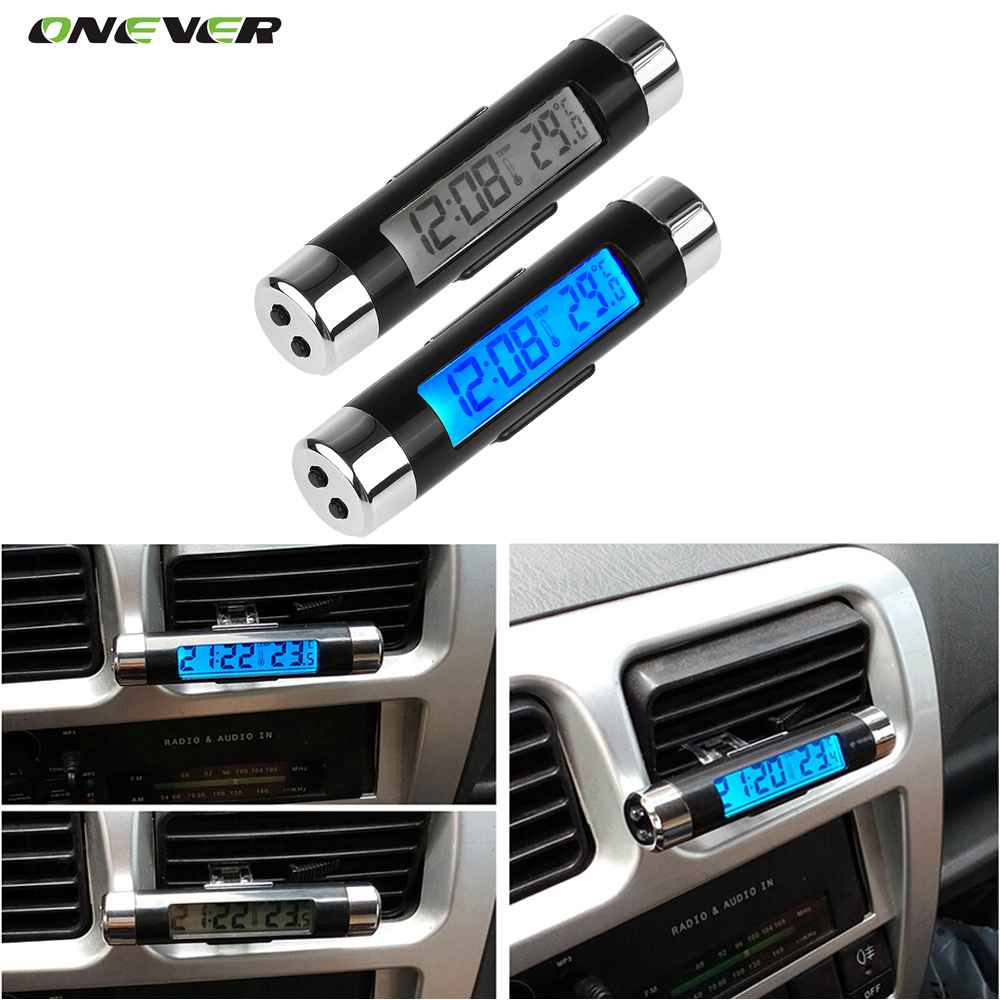 2in1 Car LCD Digital Blue LED Backlight Automotive Car Air Vent Outlet Clip-on Thermometer Clock Calendar Car-styling 1pc(China (Mainland))