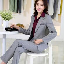 2015 slim work wear elegant women pant jacket OL fashion women's formal blazer set plus size office business suit pants female
