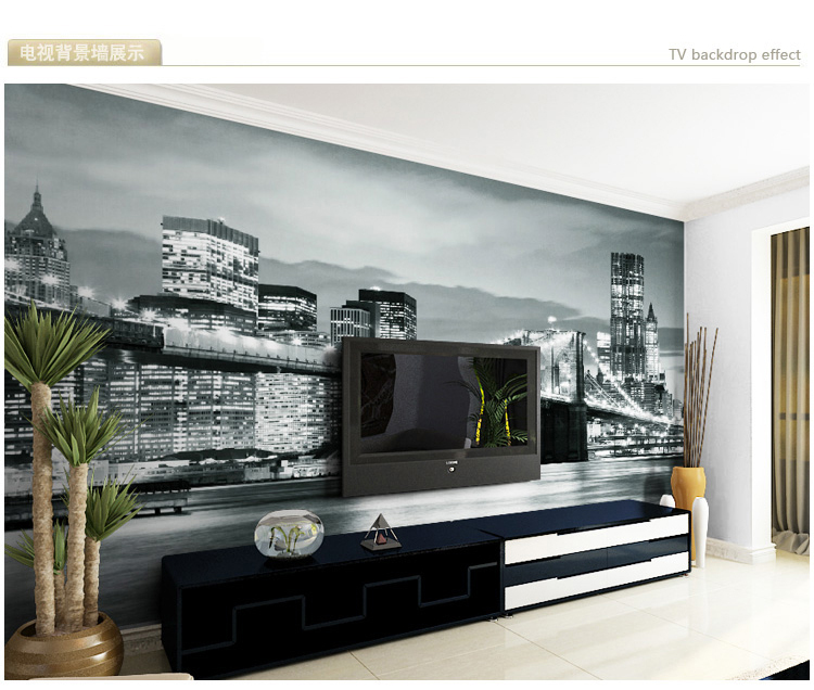 New york night modern living room bedroom tv background for Black and white new york mural wallpaper
