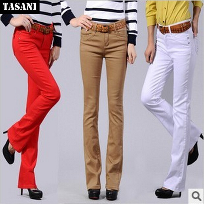 2015 High Waist Jeans Women Candy Colors Denim Pants Plus Size Slim Elastic Boot Cut FlareTrousers Female TF05 - TASANI Fashion store