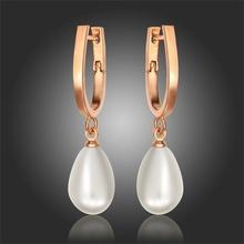 18K Rose Pink Gold Plated U Shape Teardrop Pearl Bead Hanging Drop Dangle Earrings Grace Bridemaid Jewelry Bijoux For Women Gift(China (Mainland))