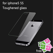 Premium Back Tempered Glass Screen Protector for Apple iPhone 5 5S Clear Toughened Protective Film 0.3mm after
