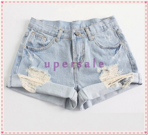 Vintage Retro Women Girls Light Blue High Waist Flange Hole Jeans Denim Shorts  -  China's largest production plant of bags store