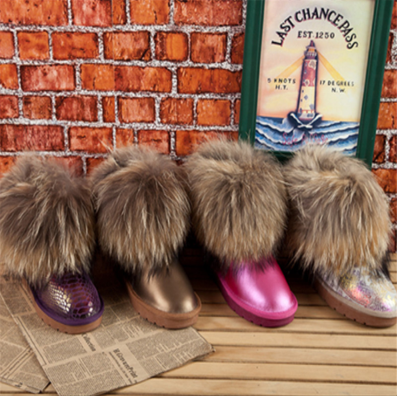 Women s Natural Real Fox Fur Snow Boots Low Genuine Leather Short Ankle Boots Fur Boot