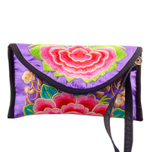Vintage Embroidery Bag Women Wallet Embroidered Day Clutch Chinese Card Holder Long Purse Small Clutch Mobile Phone coin bag(China (Mainland))