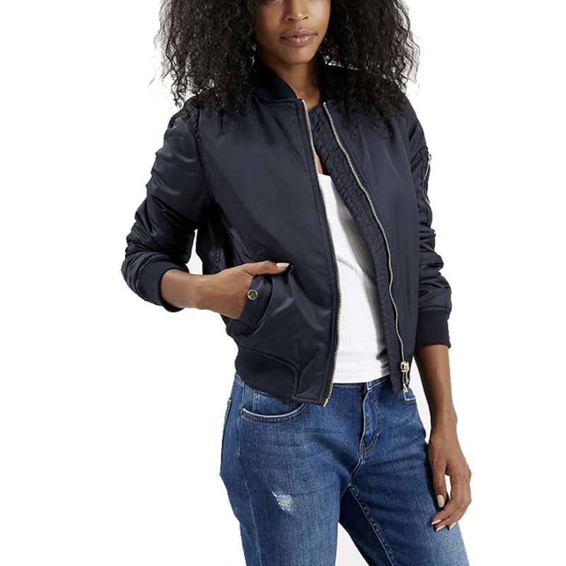 2016 Autumn/winter women basic coats casual stand zipper bomber jacket sport slim Padded baseball outwear lady Pilots short tops(China (Mainland))