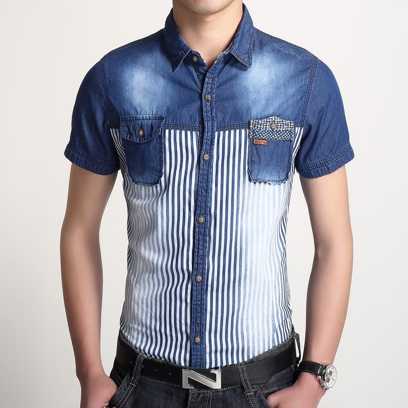 Luxury men clothing summer jeans shirts soft cotton water for Soft cotton dress shirts