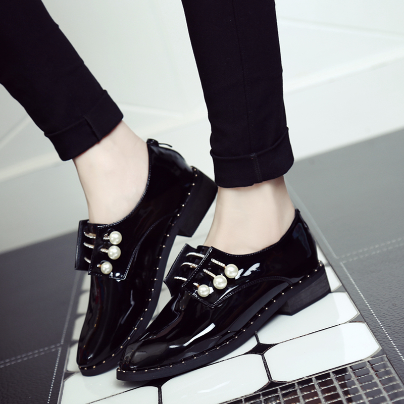 Free Shipping Women Fashion Genuine Leather Shoes with Pearl Lacing Casual Shoes Deep Mouth Outdoor Casual Shoes Size 35~40