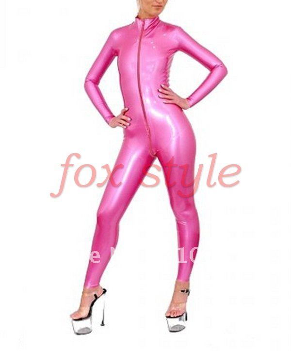 latex rubber catsuits Teddies Metallic pink color woman mens - Fox Style store
