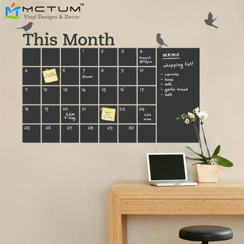 Diy Calendar Wall Art : New diy vinyl chalkboard wall calendar cute birds