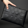 2016 New fashional men wallet genuine leather purse and handbags for male luxury brand black zipper