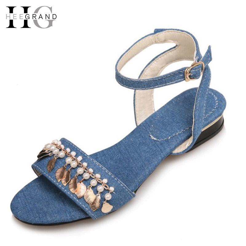 HEE GRAND Tassel Gladiator Sandals 2017 Summer Denim Canvas Shoes Woman Platform Casual Slip On Flats Plus Size 35-41 XWZ3961(China (Mainland))