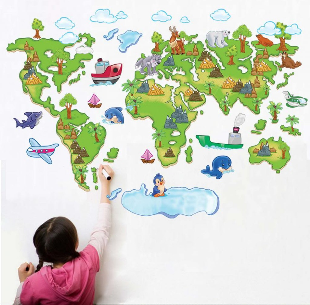 Baby boy room decor stickers - Colour World Map Removable Wall Stickers Kids Nursery Baby Room Decor Art Mural China
