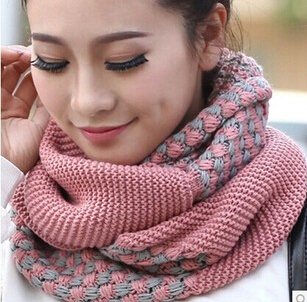 ON Sale Korean Winter Scarf Women Warm Knitting Neck Circle Pink Gray Wool Blend Cowl Snood Ring Scarves Loop Shawl Wrap - Fashion Sock's World store