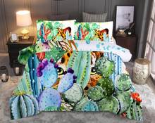 Tropical Plant Fleshy Cactus Printed Duvet Cover Set Queen King Bedding Set Bed Linen Bedclothes(China)