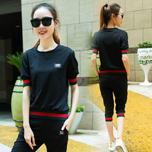 2 Pieces 2016  New Summer Sport Suit Leisure Women Short Sleeved Pants Slim  Women Tracksuit(China (Mainland))
