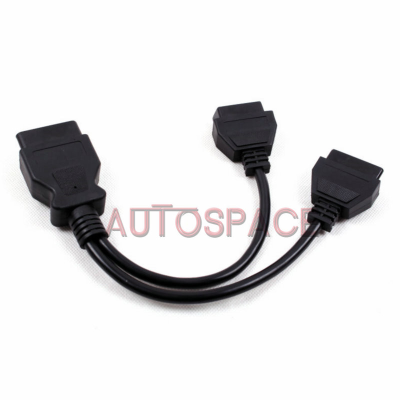 Best Price OBD OBD2 16Pin Male to Two Female Extension Cable 30cm Transfer Connector OBD II Cable(China (Mainland))