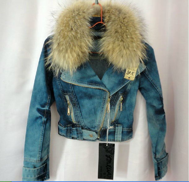 Exclusive special geniune raccoon fur coat women denim jacket winter Locomotive F684 - K fashion show co.,Ltd store