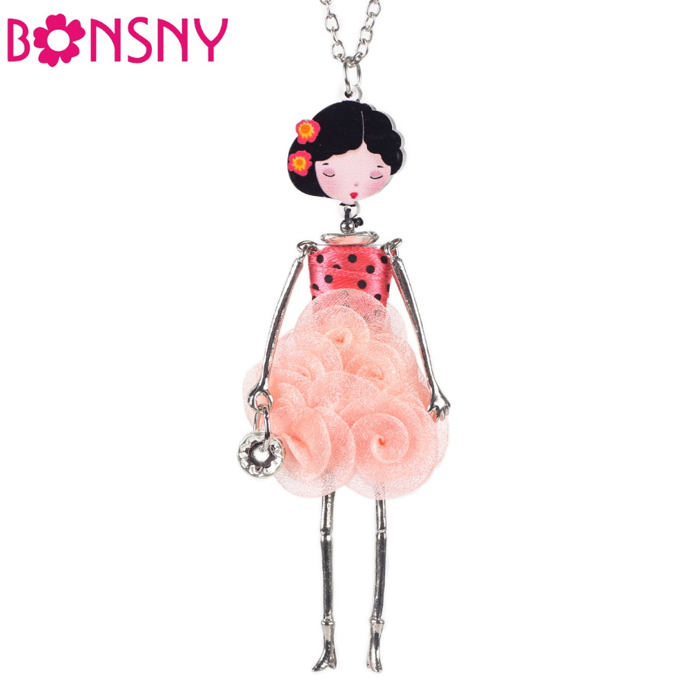 Bonsny French Paris Doll Necklace Dress Flower Long Chain Alloy Doll Pendant Fashion Jewelry For Women 2015 News Accessories(China (Mainland))