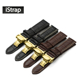 18mm 19mm 20mm 21mm 22mm 24mm Genuine Leather Watch Band Strap with Yellow gold butterfly buckle