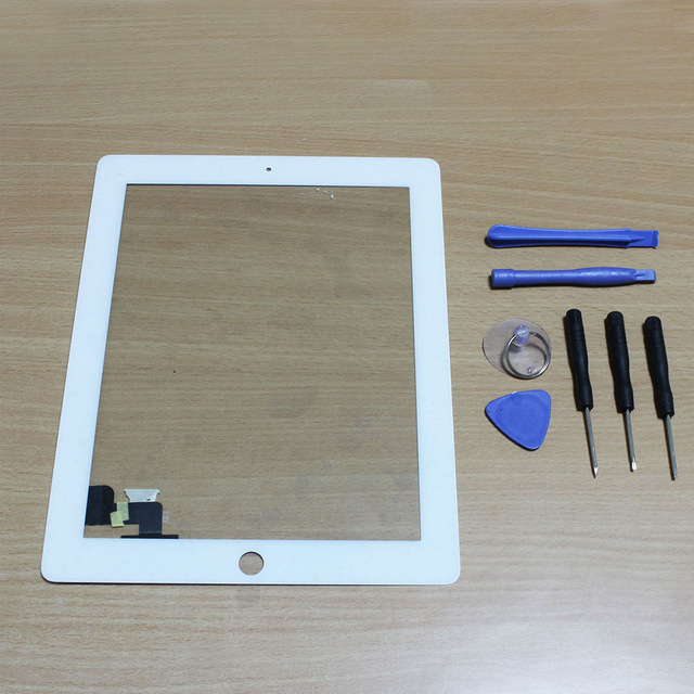 2016 NEW white Black Touch Screen Digitizer Panel Glass for Apple iPad 2 Screen Sensor + 7 in 1 Opening Tools Kit Free shipping<br><br>Aliexpress