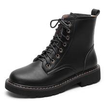 Hakiki Deri Martin Çizmeler Kadın 2020 Sonbahar Kış Kadın Düşük Topuklu Ayakkabılar A299 Moda Bayanlar Lace Up Bej Siyah yarım çizmeler(China)